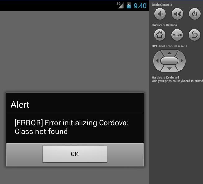 Error initializing Cordova